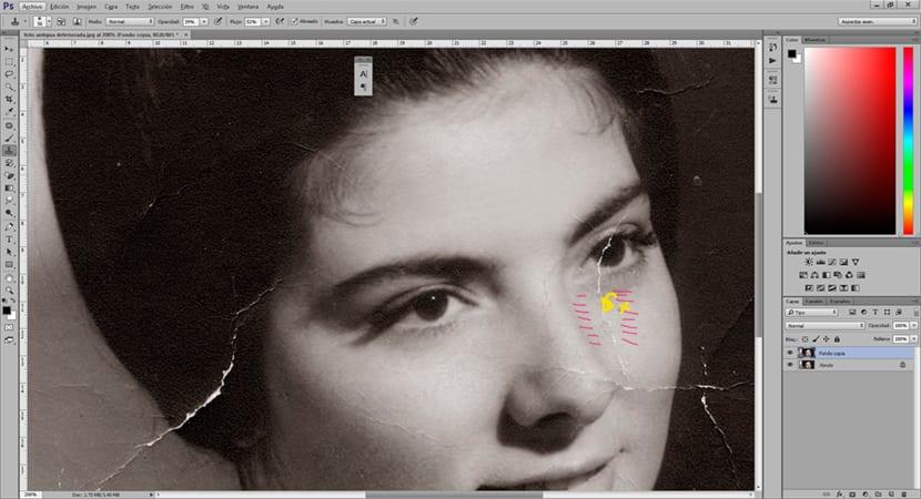 La herramienta tampón clonar es ideal para corregir zonas dañadas de una imagen