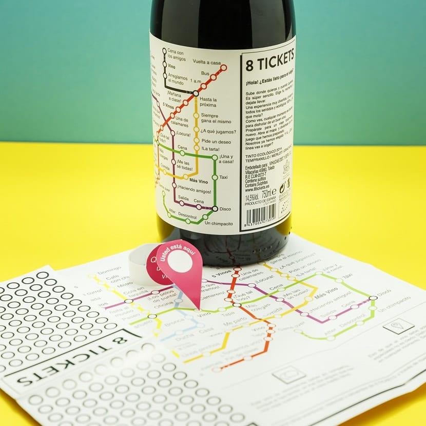 la creación de un packaging de vino que sugiere el plano de las estaciones de metro