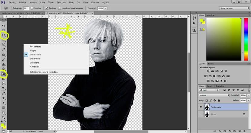 borramos el fondo de nuestra fotografía y aplicamos un relleno de color