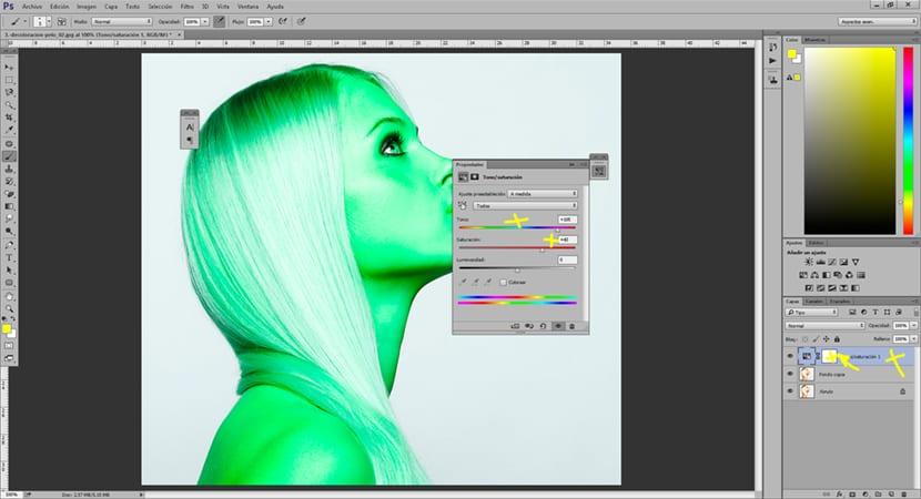 aplicamos colores con capas de tono saturación