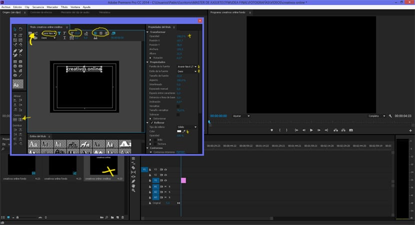 Retocamos los parámetros de la tipografía para crear los títulos de crédito en Adobe premiere