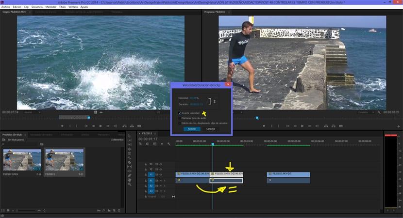 Podemos rebobinar el vídeo con Premiere