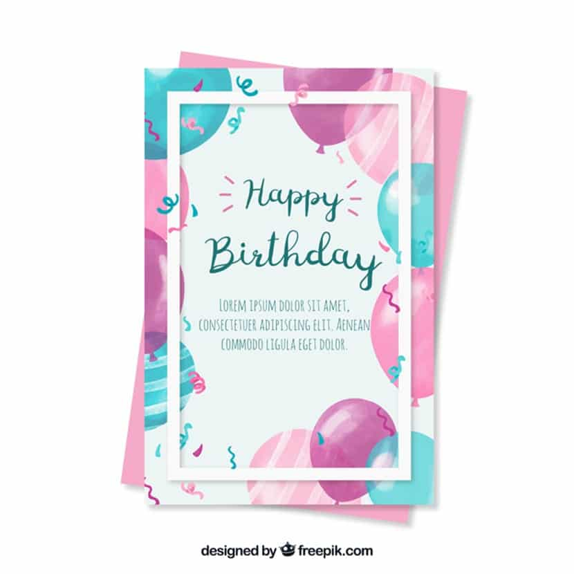 Bonita felicitación de cumpleaños con globos de acuarela