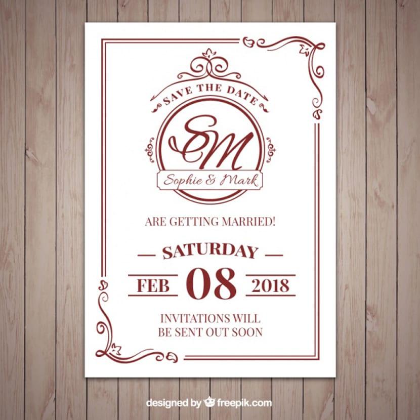 Bonita invitación de boda al estilo clásico