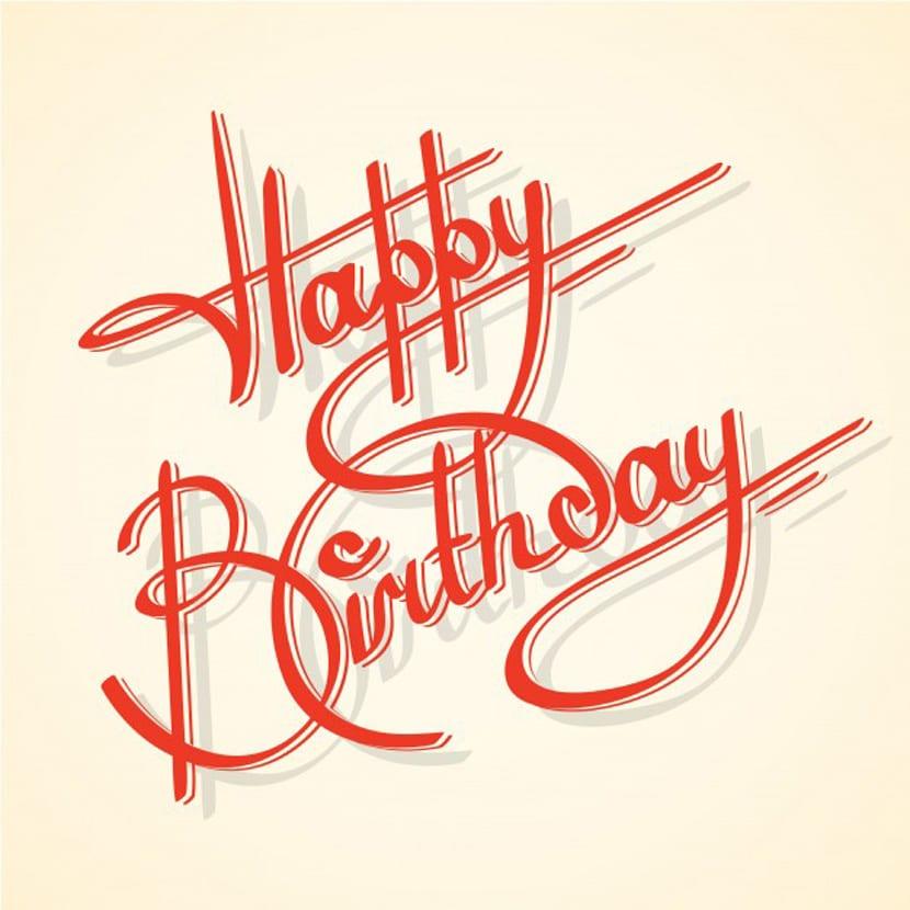 Caligrafía feliz cumpleaños ilustración vectorial