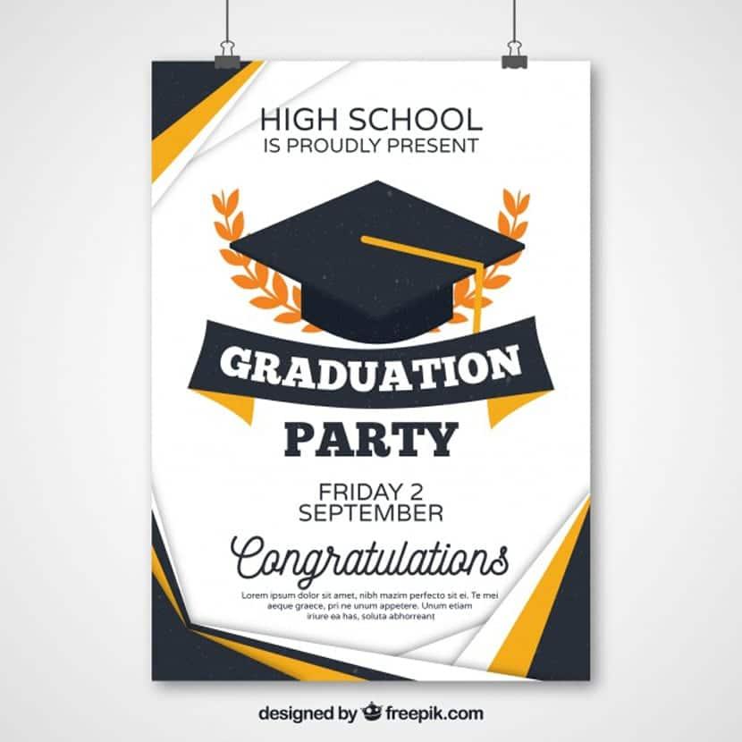 Cartel abstracto de fiesta de graduación