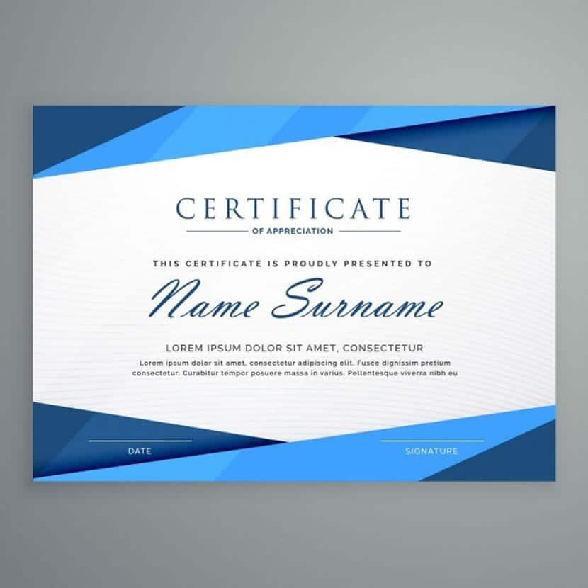 Certificado con formas geométricas azules