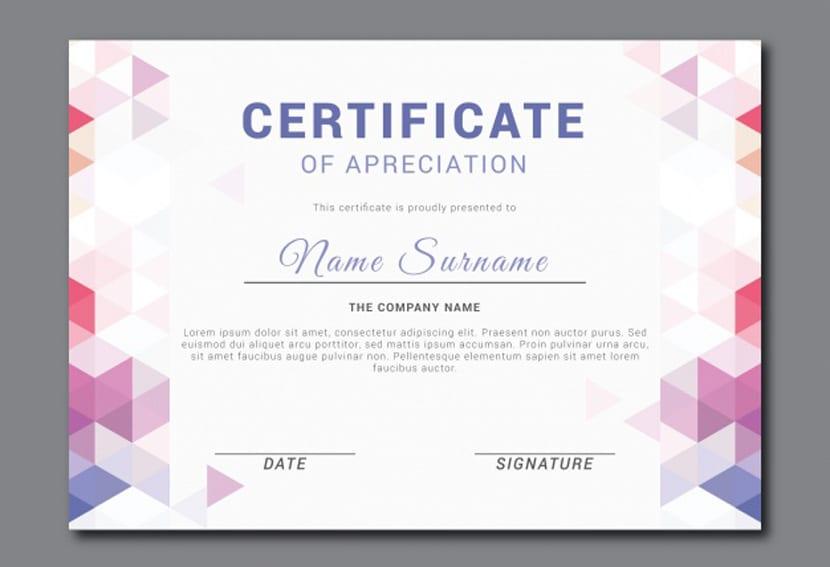 Certificado de apreciación fantástico con formas geométricas de color
