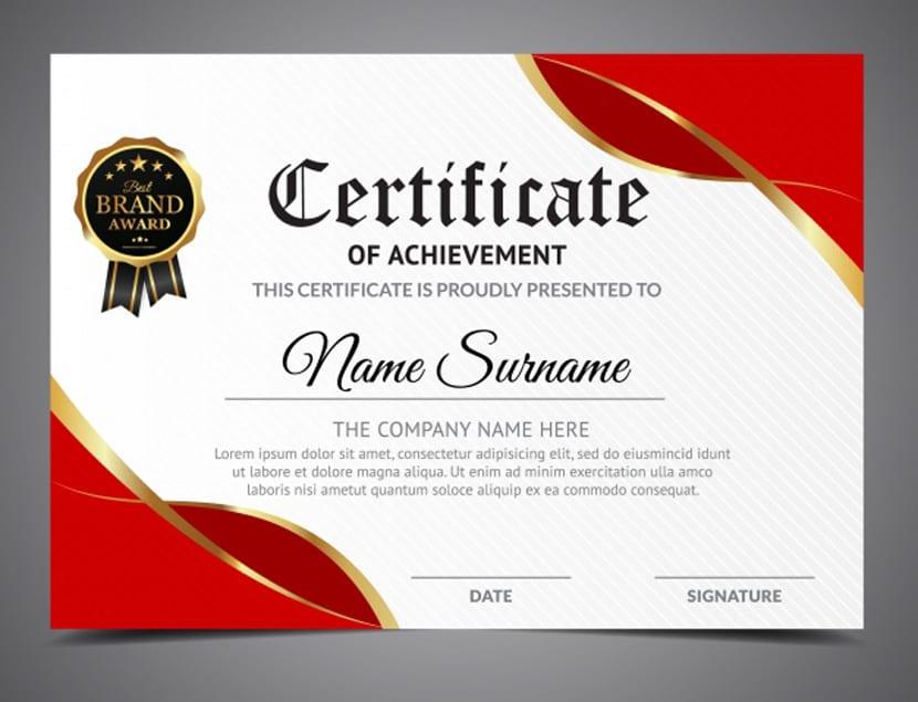 Certificado de aprovechamiento blanco y rojo