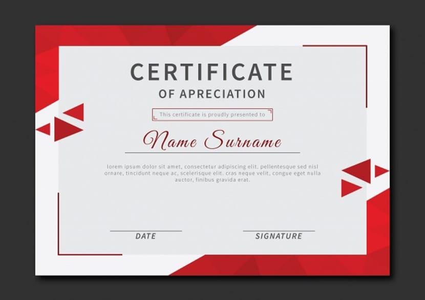 Certificado de reconocimiento con triángulos rojos