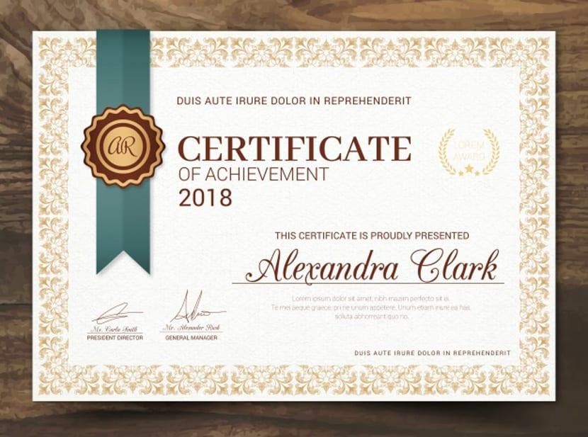 Certificado de reconocimiento en estilo vintage