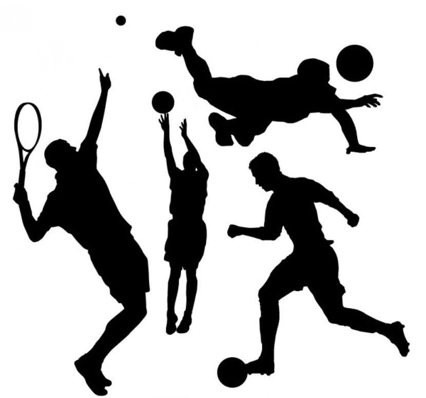 Colección de siluetas de personas haciendo deporte