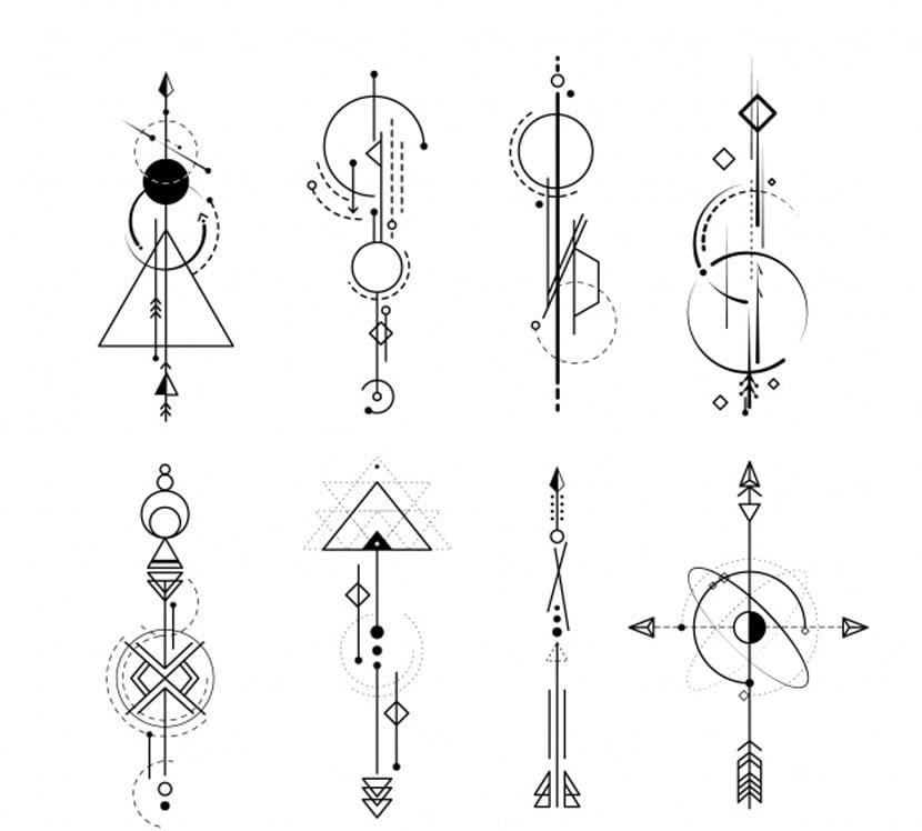 Colección de tatuajes con formas abstractas