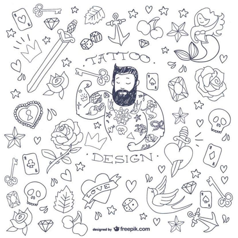 Colección de tatuajes simples