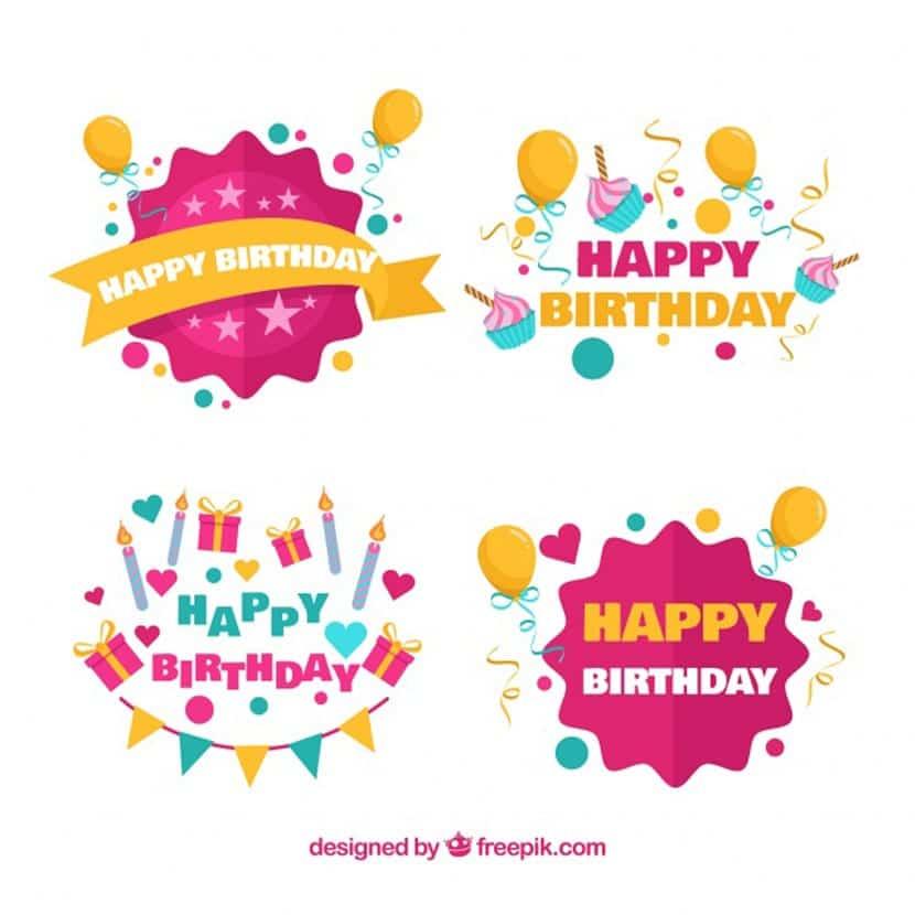 Colección de pegatinas de cumpleaños con globos