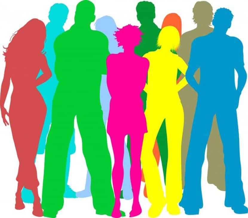 Colorido siluetas de personas