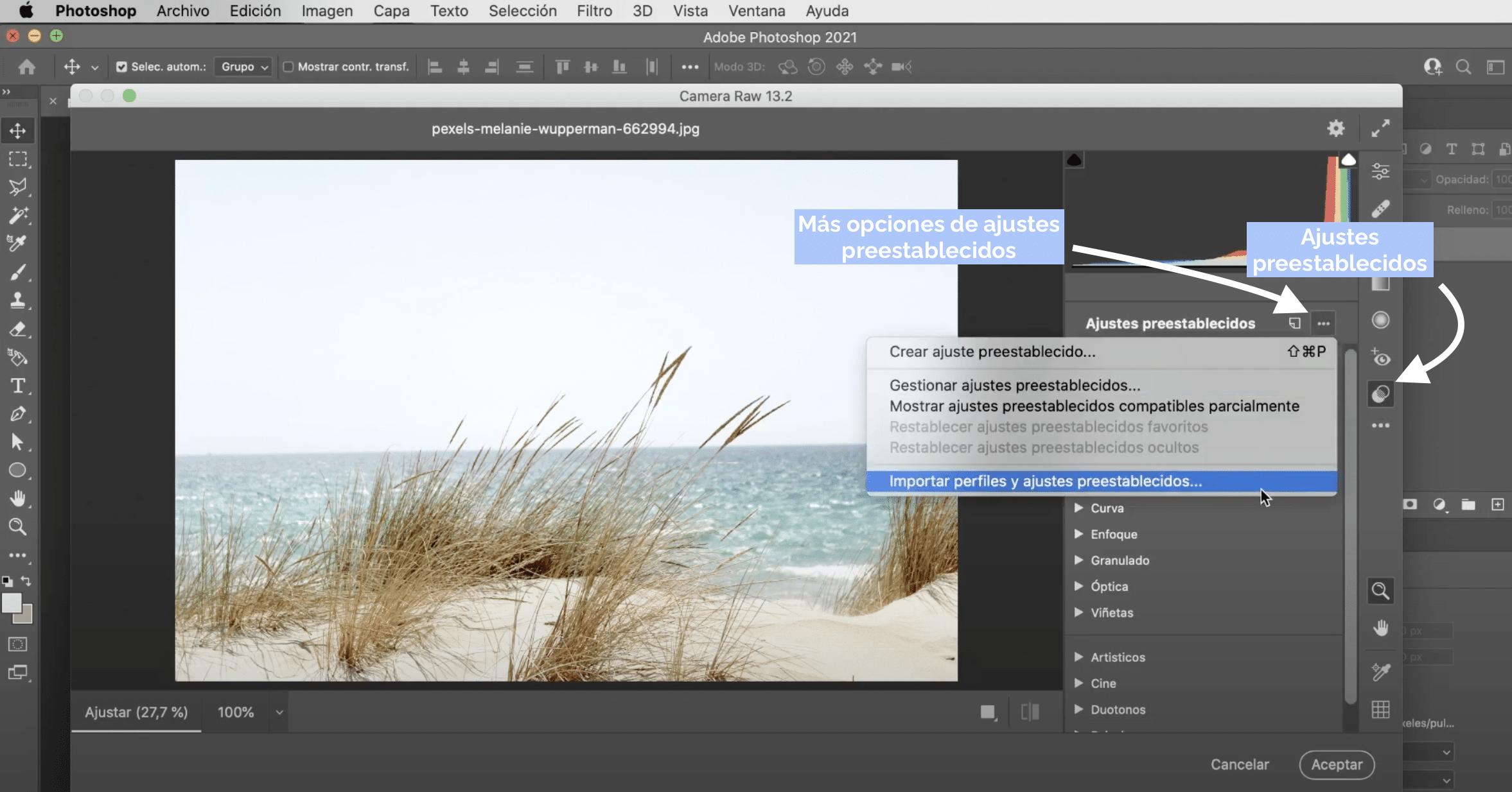cómo instalar presets en Photoshop