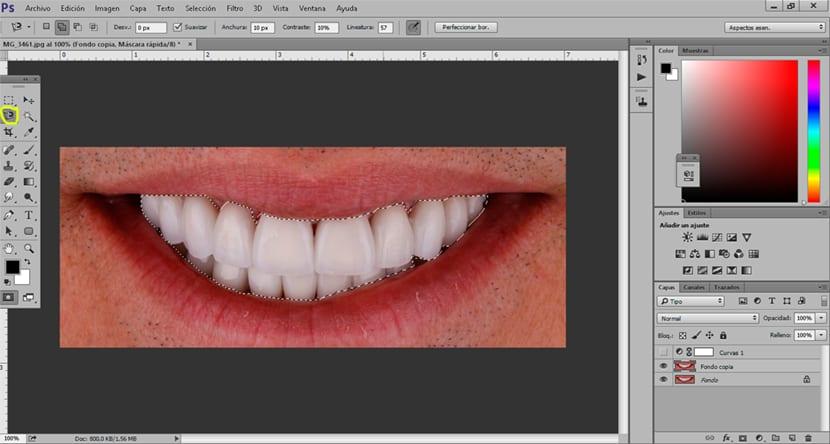 Creamos una selección de los dientes con cualquier herramienta de selección
