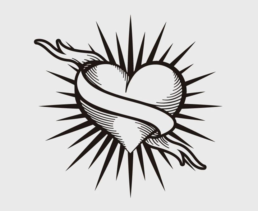 Diseño de tatuaje de corazón vintage