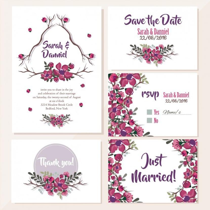 Diseño floral de invitaciones de boda