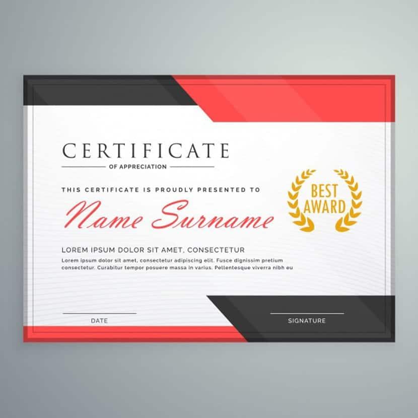 Diseño moderno de certificado con formas geométricas rojas y negras