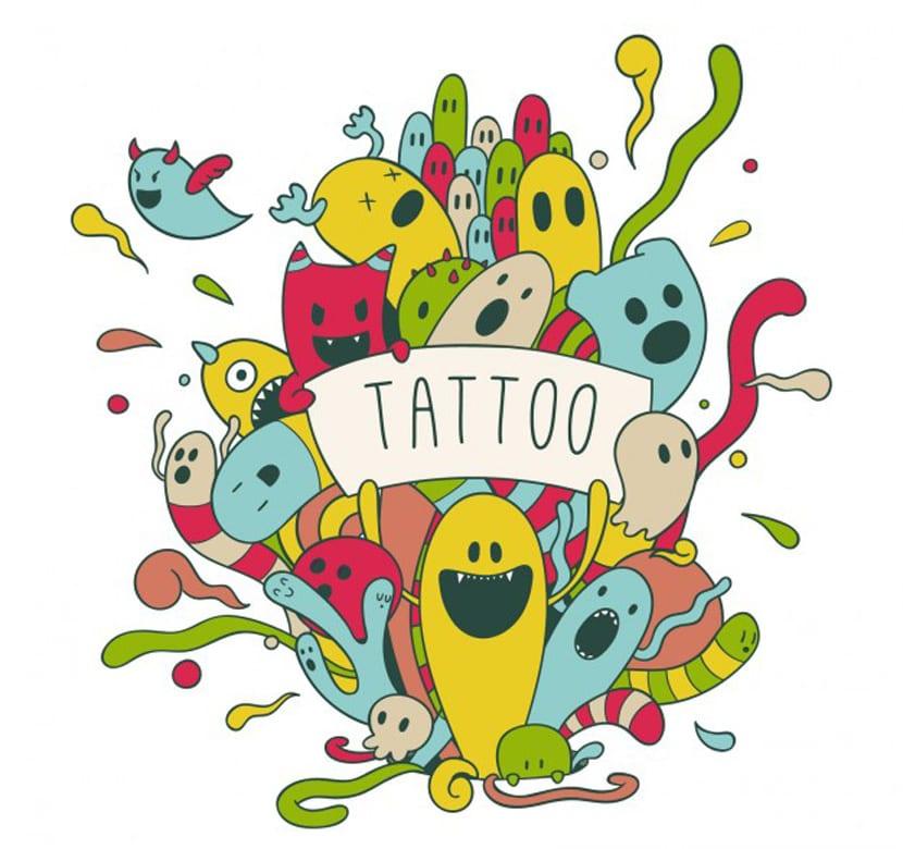 Divertido tatuaje de personajes de colores dibujados a mano