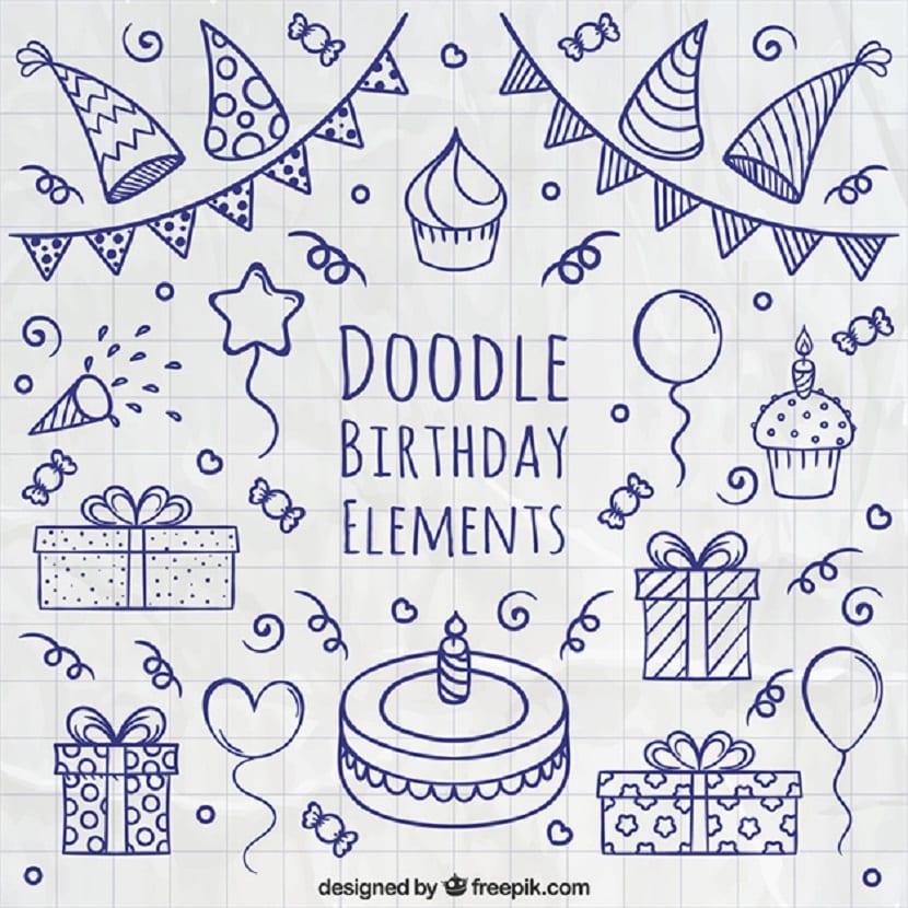 Elementos de cumpleaños a mano