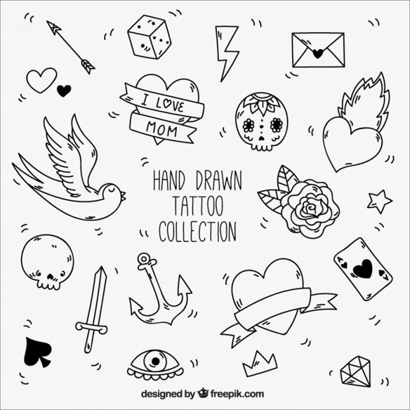 Elementos en blanco y negro para tatuajes vintaje