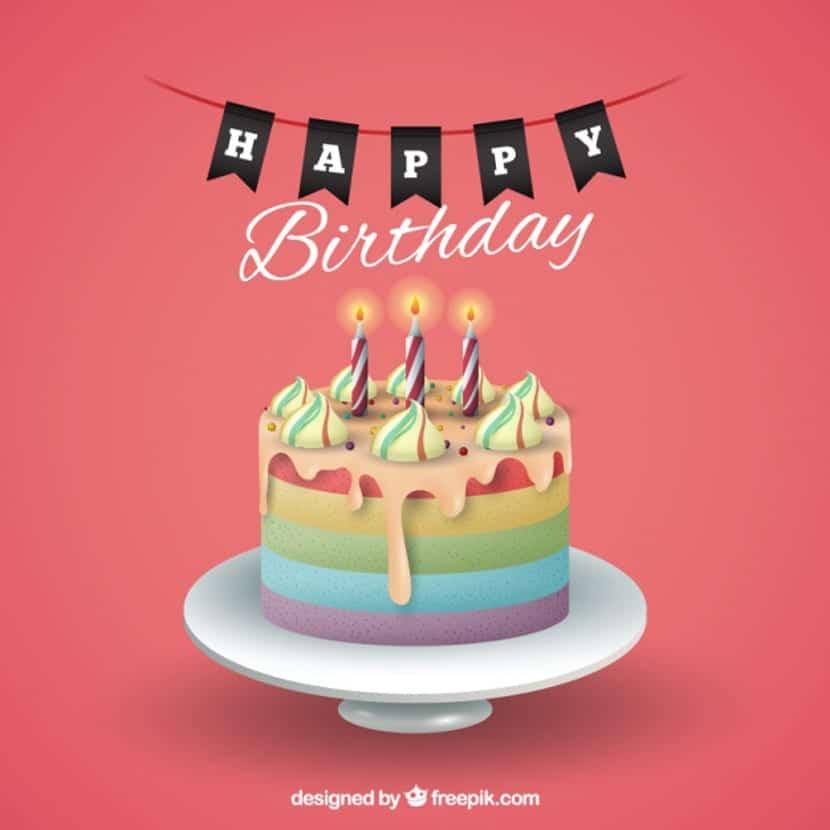 Fondo de cumpleaños con tarta