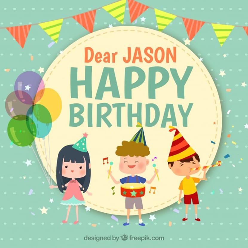Fondo de cumpleaños con tres niños sonrientes