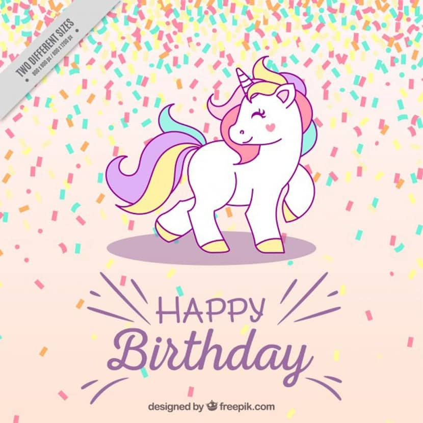 Fondo de cumpleaños con unicornio