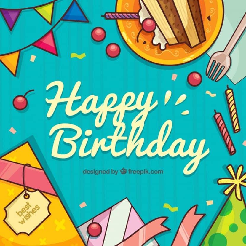Fondo de feliz cumpleaños con elementos dibujados a mano