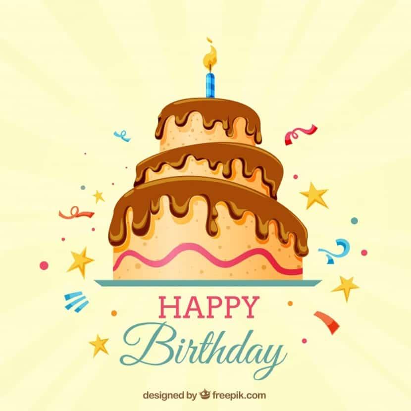 Fondo de feliz cumpleaños con tarta