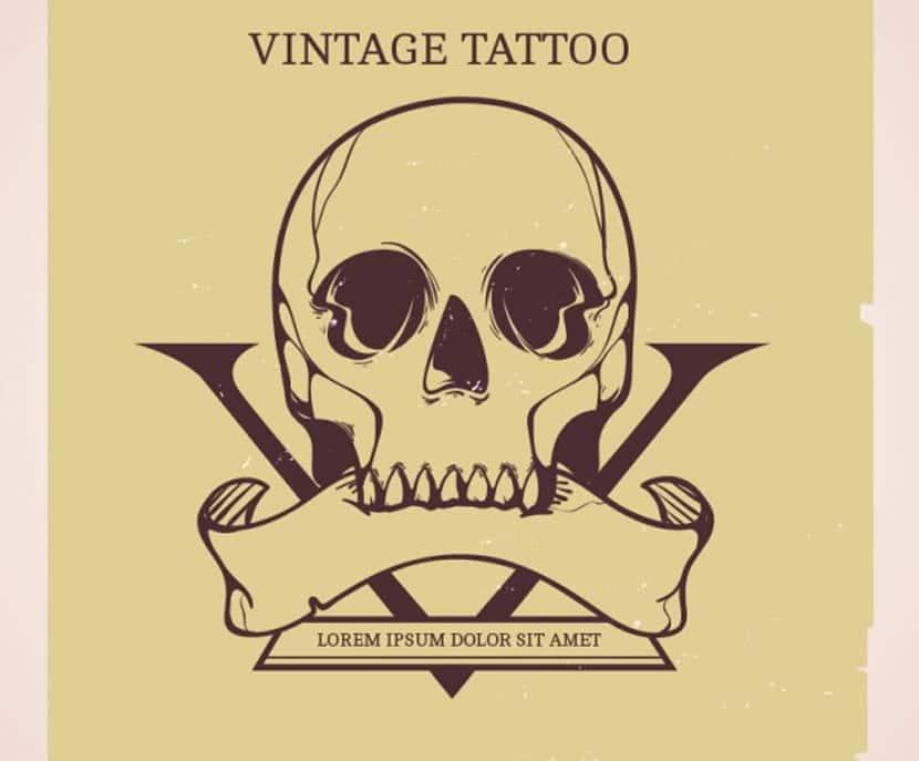 Fondo de tatuaje de calavera dibujado a mano