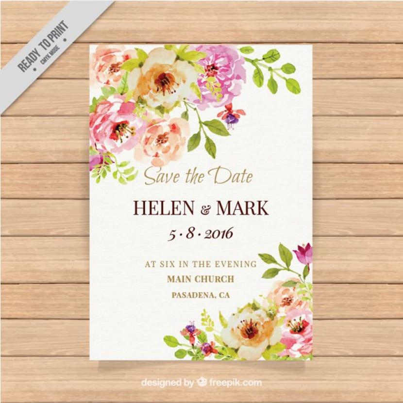 Invitación bonita de boda con flores de acuarela