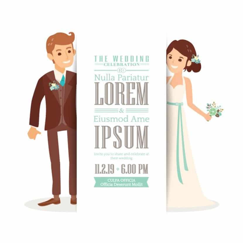 Invitación de boda con una linda pareja
