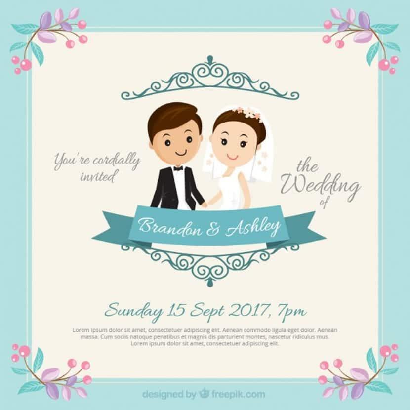 invitacin de boda de simptica pareja