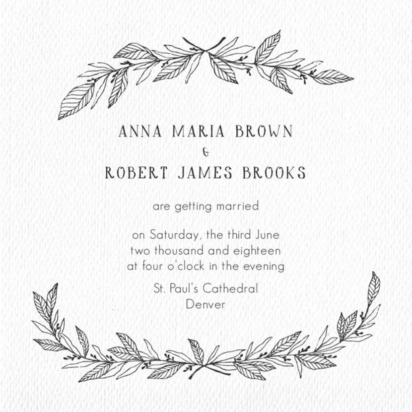marco floral dibujado a mano para invitacin de boda
