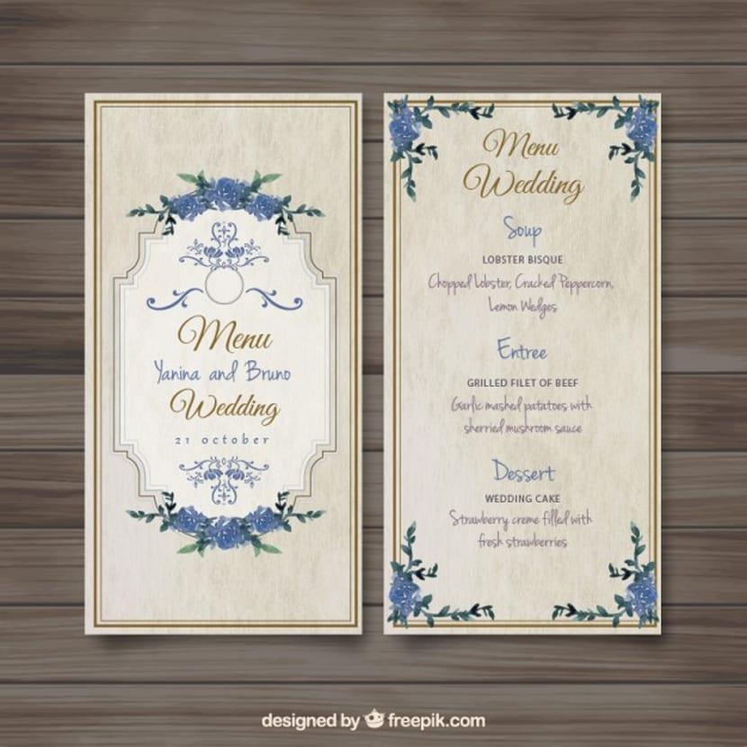 Menú de boda a la antigua