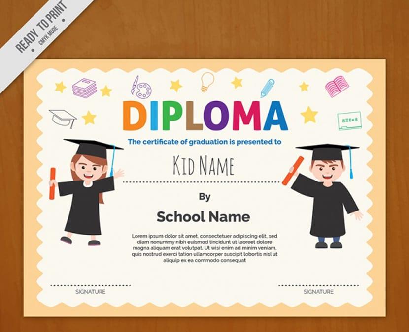 Modelo de diploma con letras de colores