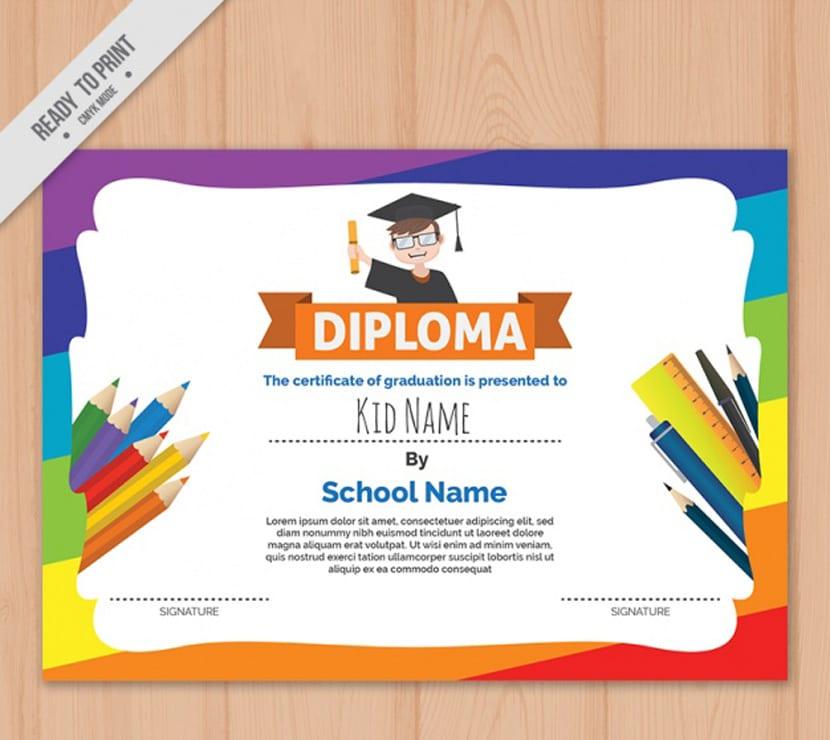 Modelo de diploma de niños colorido