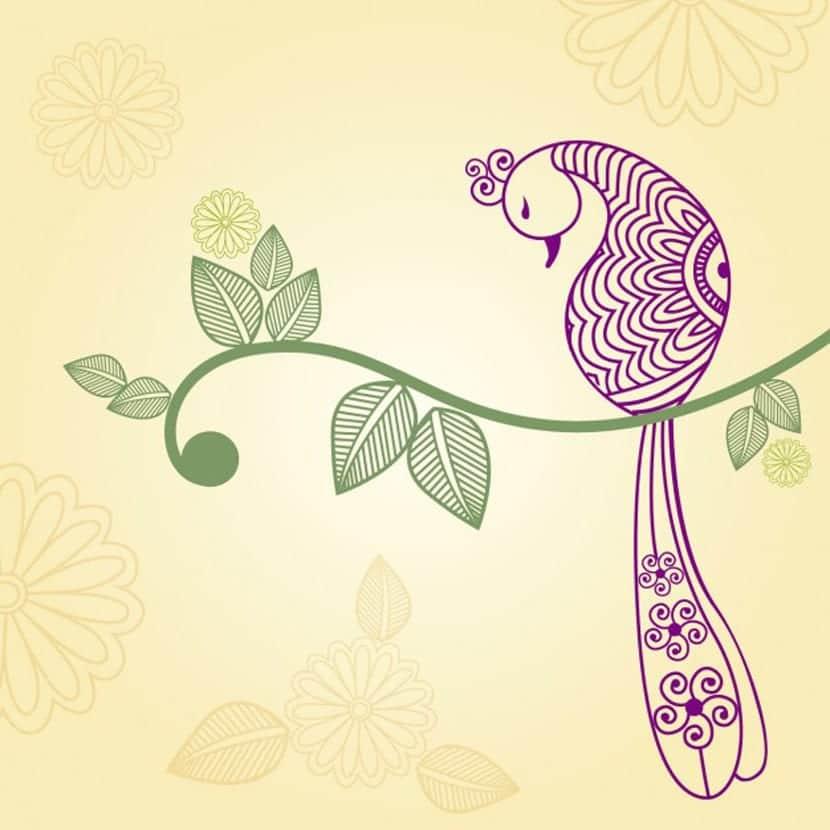 Ornamento indio de un pavo