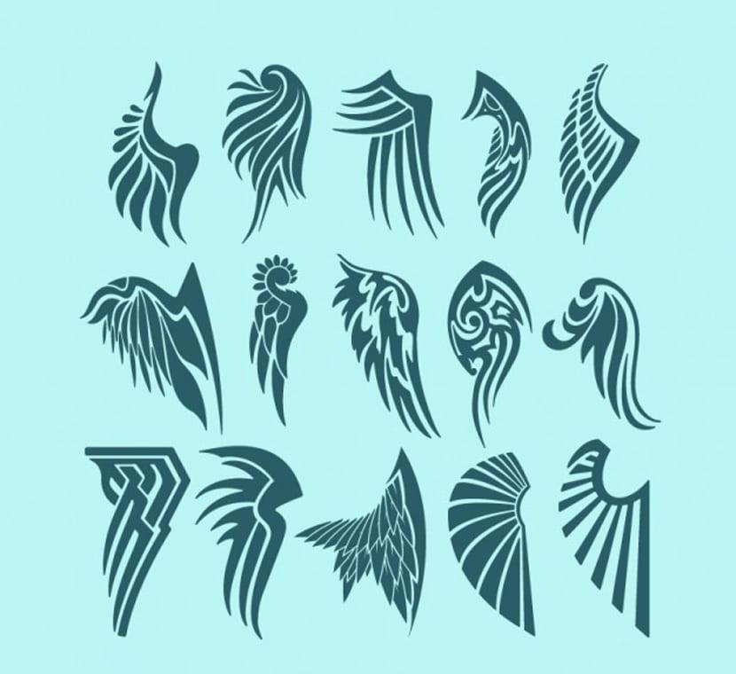 Pack de diseños para tatuajes de alas de ángel