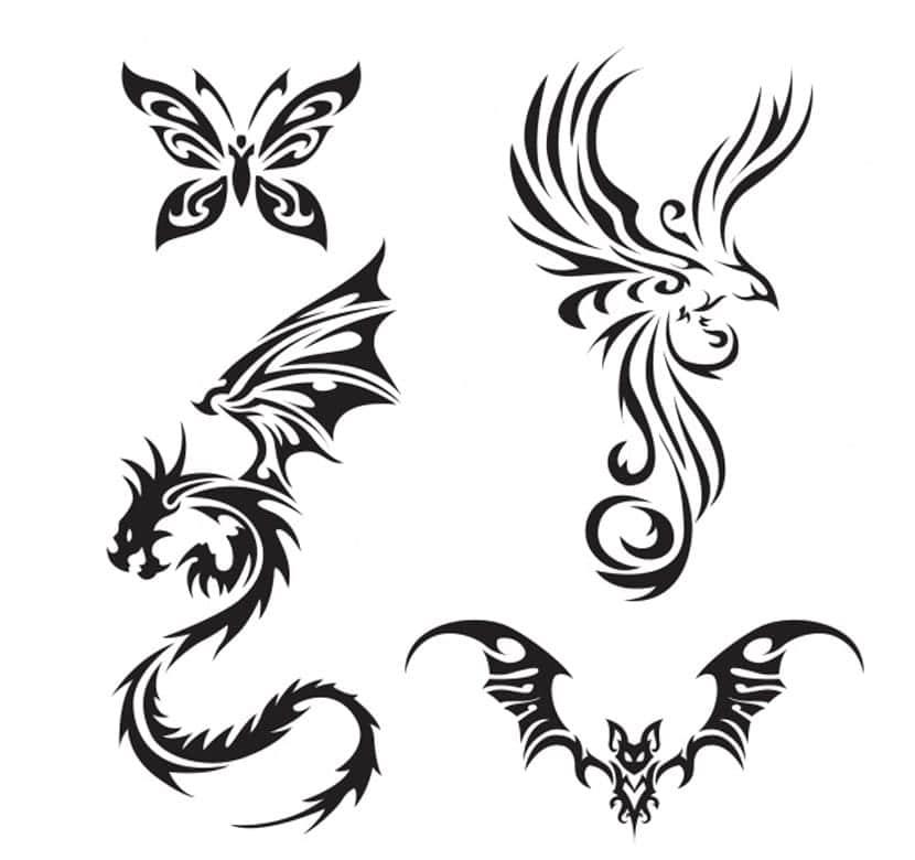 Pack de tatuajes de criaturas con alas