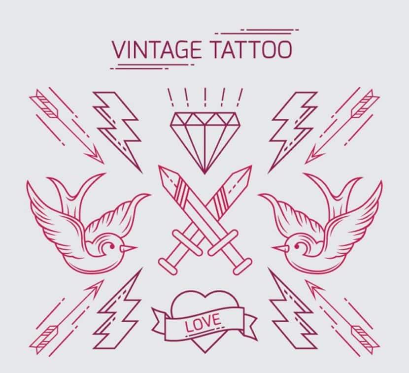 Pack de tatuajes vintage dibujados a mano