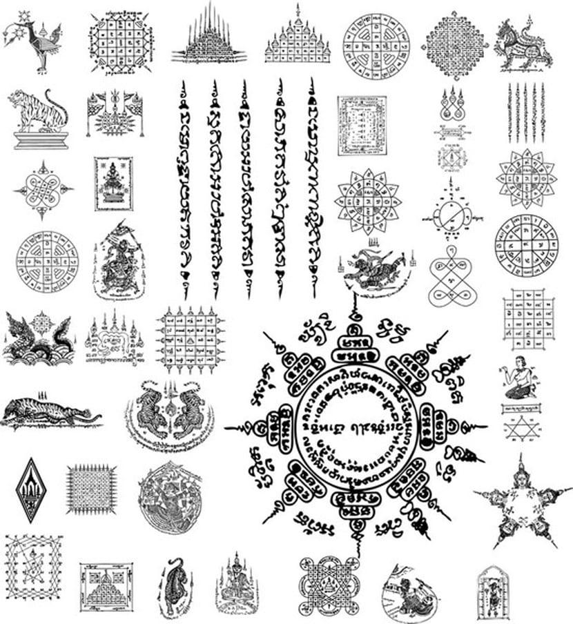 Paquete Tailandia tatuaje ilustrador vectorial