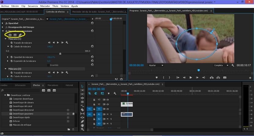 Premiere nos permite desenfocar partes concretas de nuestro vídeo