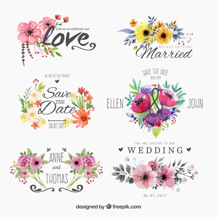 Insignias floridas de acuarela para boda