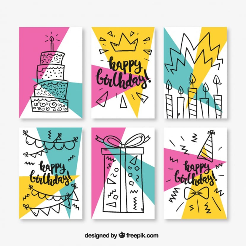 Set de seis tarjetas de cumpleaños estilo memphis