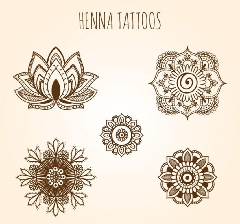 Set de tatuajes ornamentales de henna